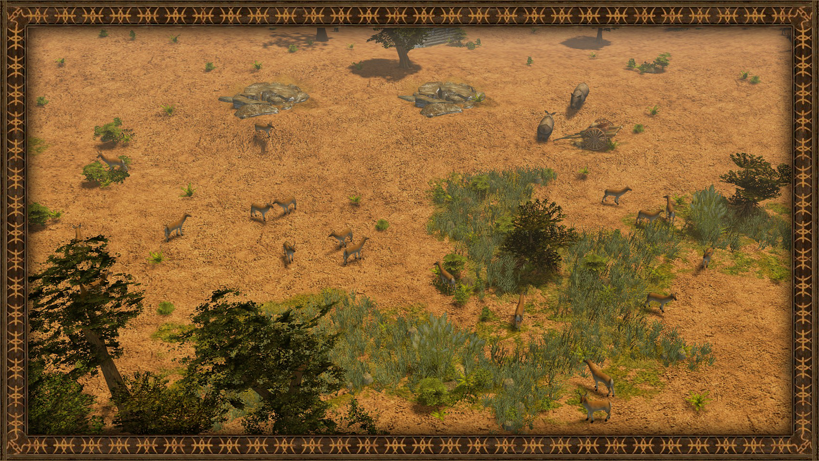 Terrain with some impalas and rhinocerae