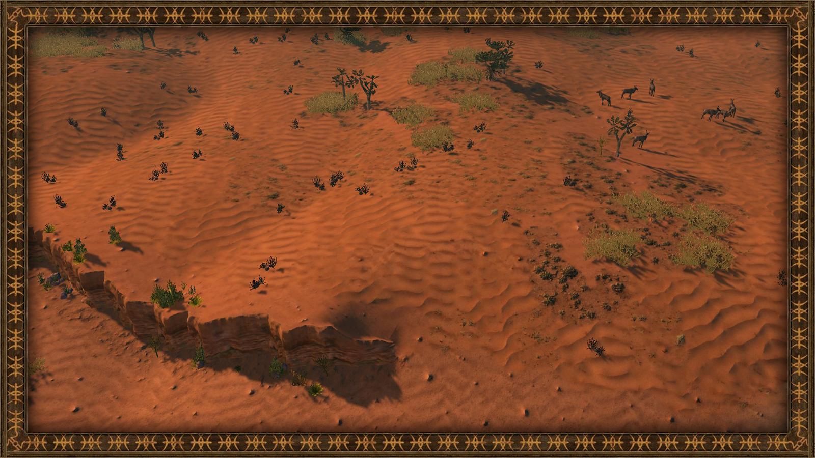 Kalahari wastelands with wildebeest antelopes
