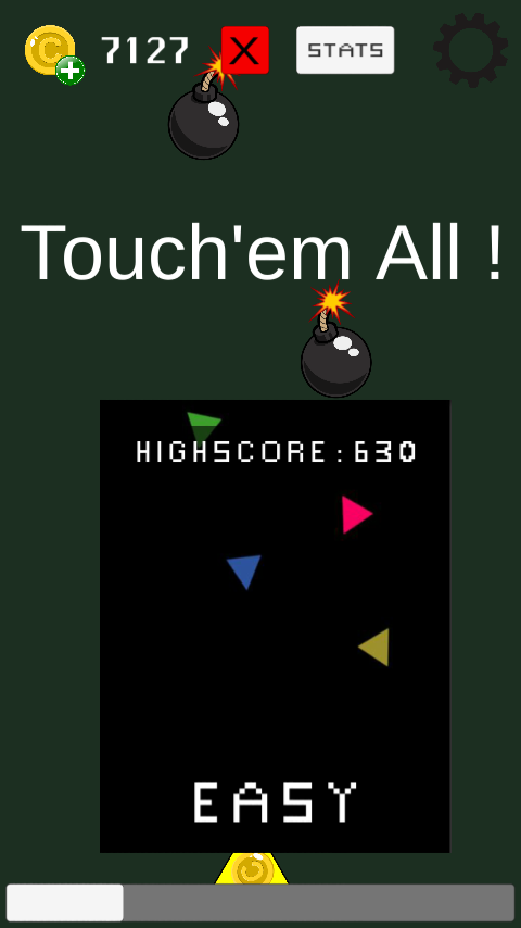 This is the main menu of Touch'em All !, with the easy level.