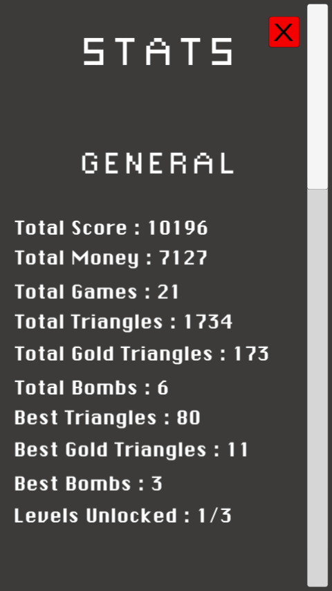 This is the stats menu of my game Touch'em All !
