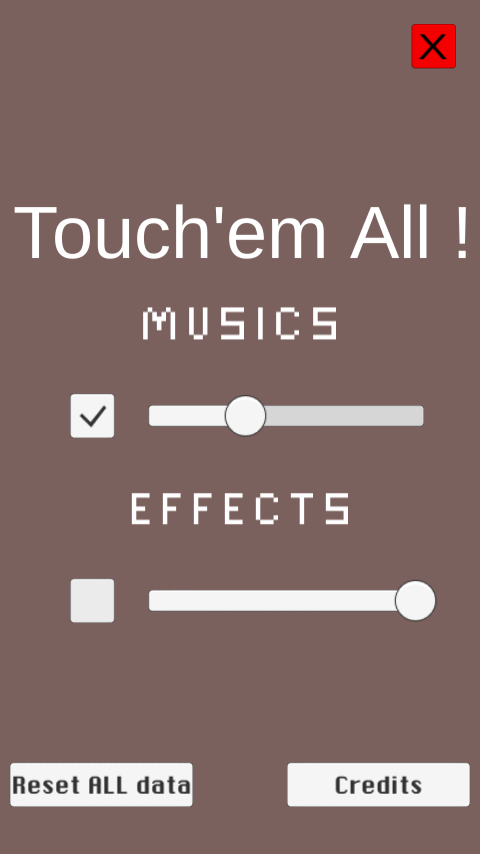 This is the options menu of Touch'em All !