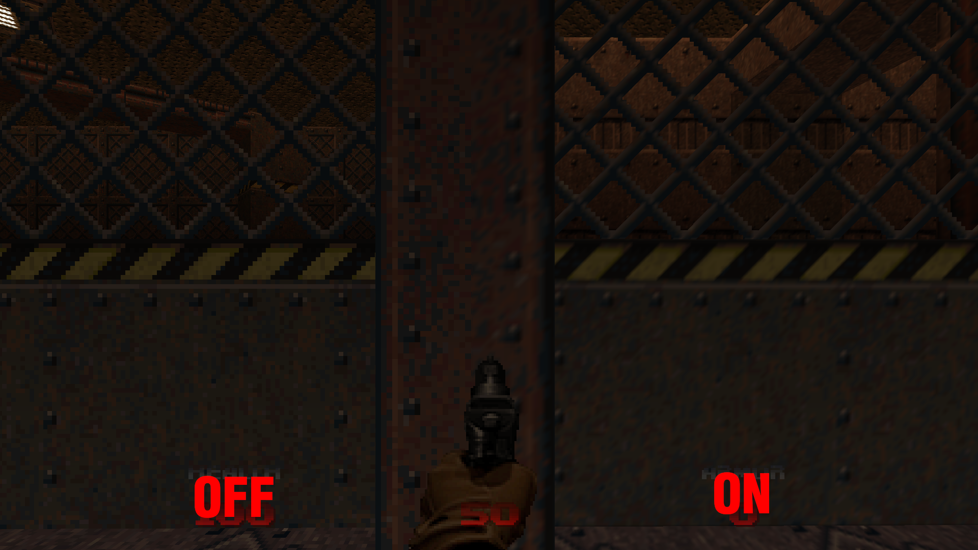 A comparison of the game with and without the 3PointFilter.pk3 addon.
