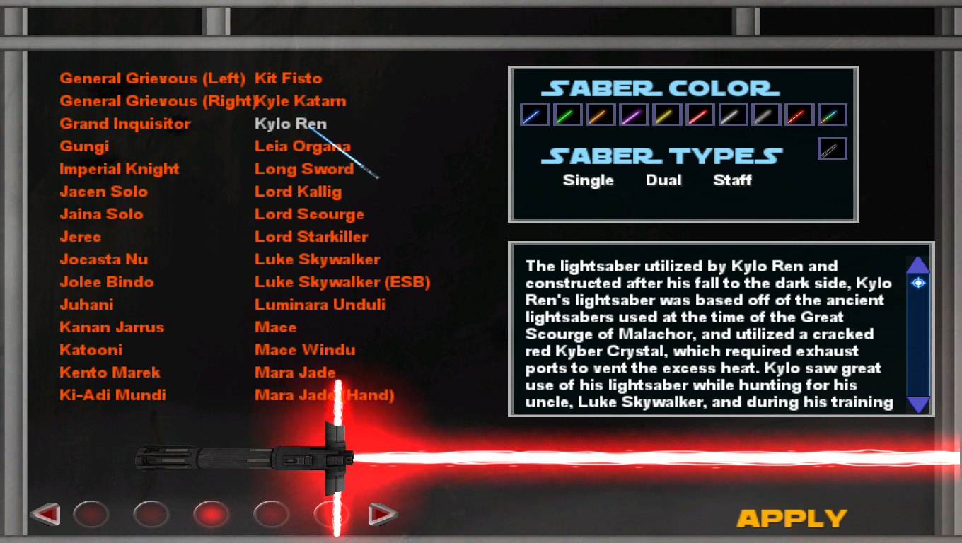 Preview of Lightsaber menu