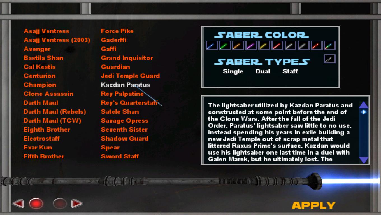 Preview of Lightsaber menu