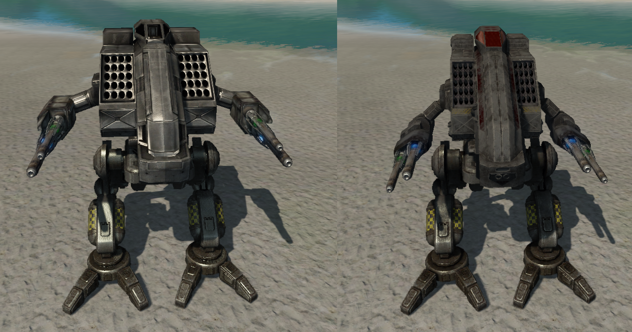 A comparison between the old (left) and new (right) Vulture/Mad Dog designs