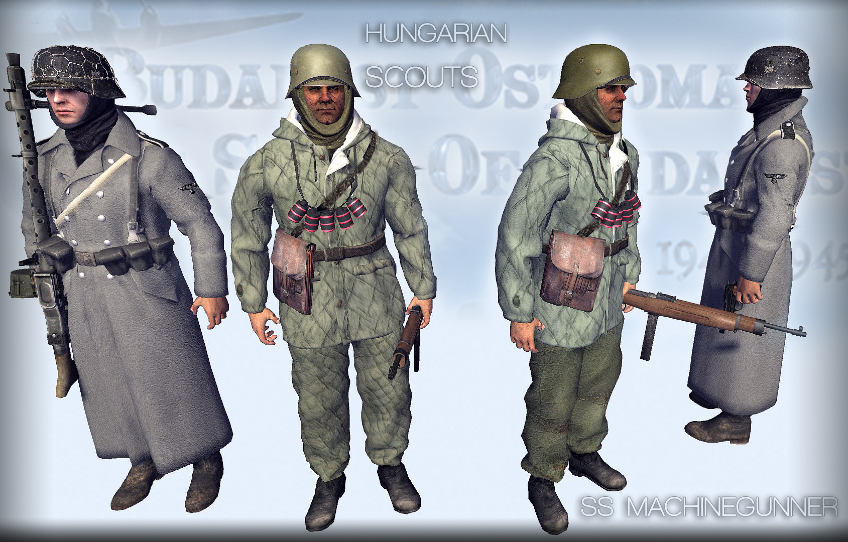 ss machine gunner  and hungarian men of war.