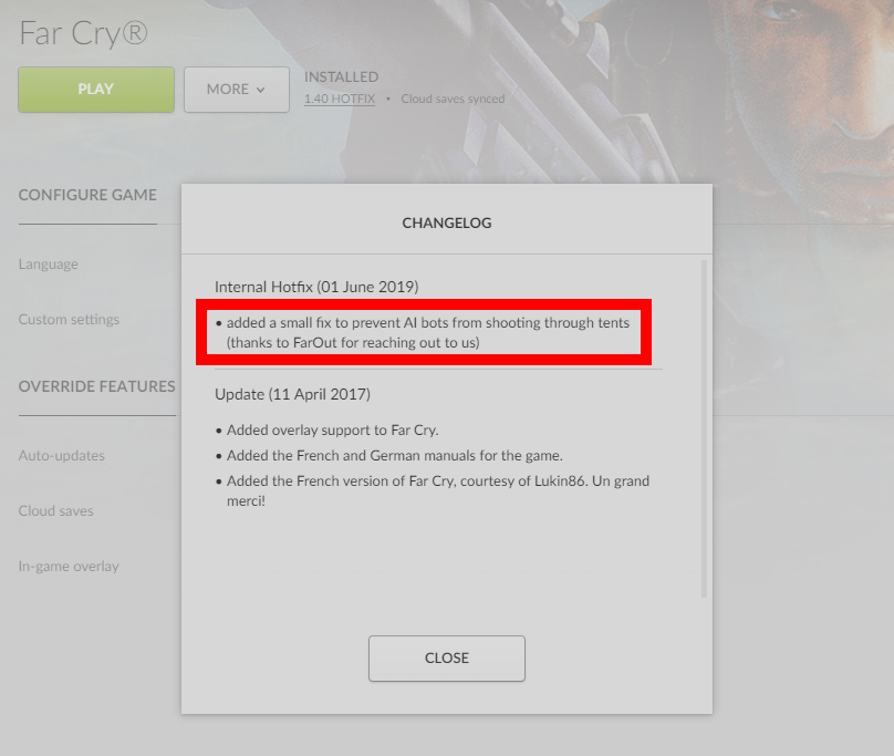 GOG fixes FarCry
