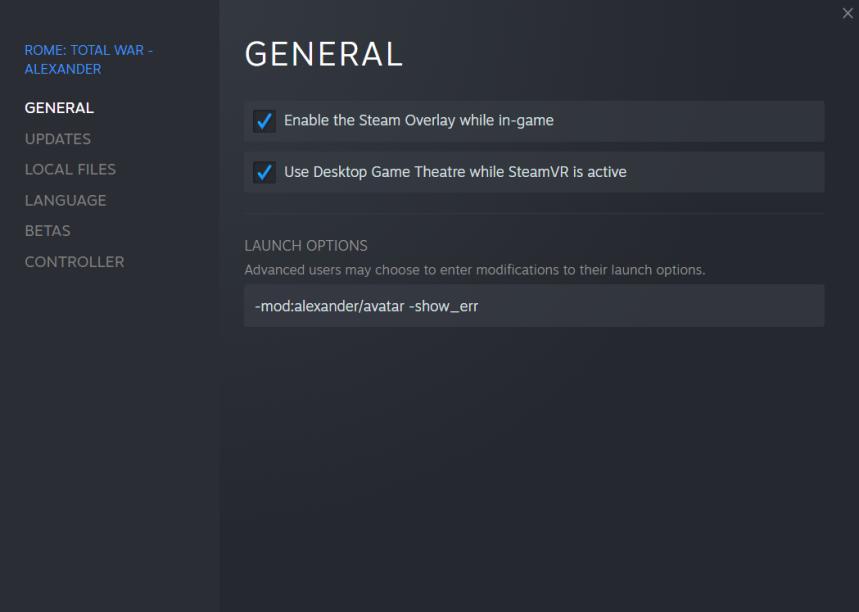 RTW Avatar Steam settings