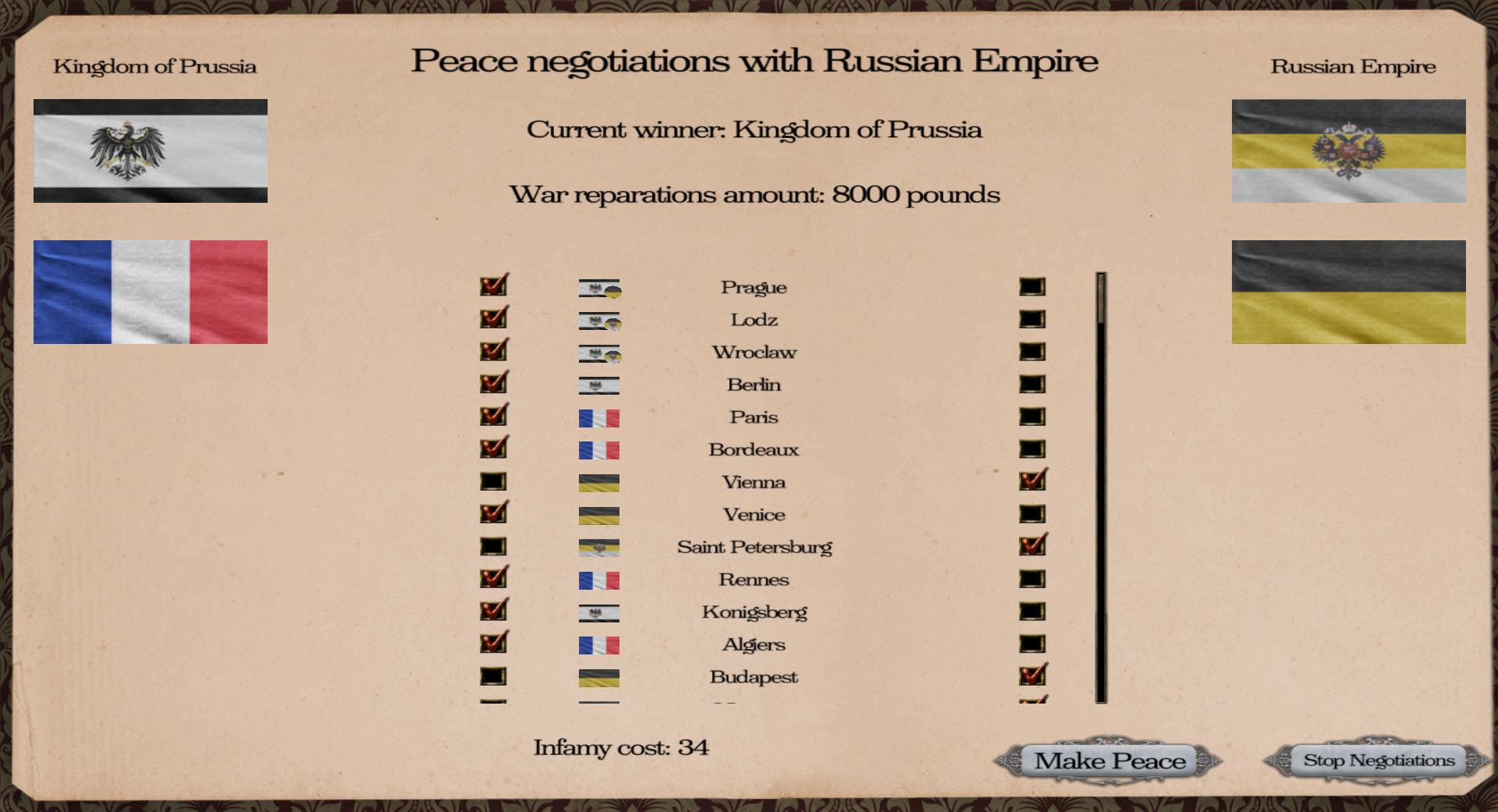 Peace menu