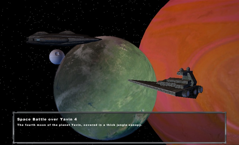 Space Battle over Yavin 4, with Death Star in the background