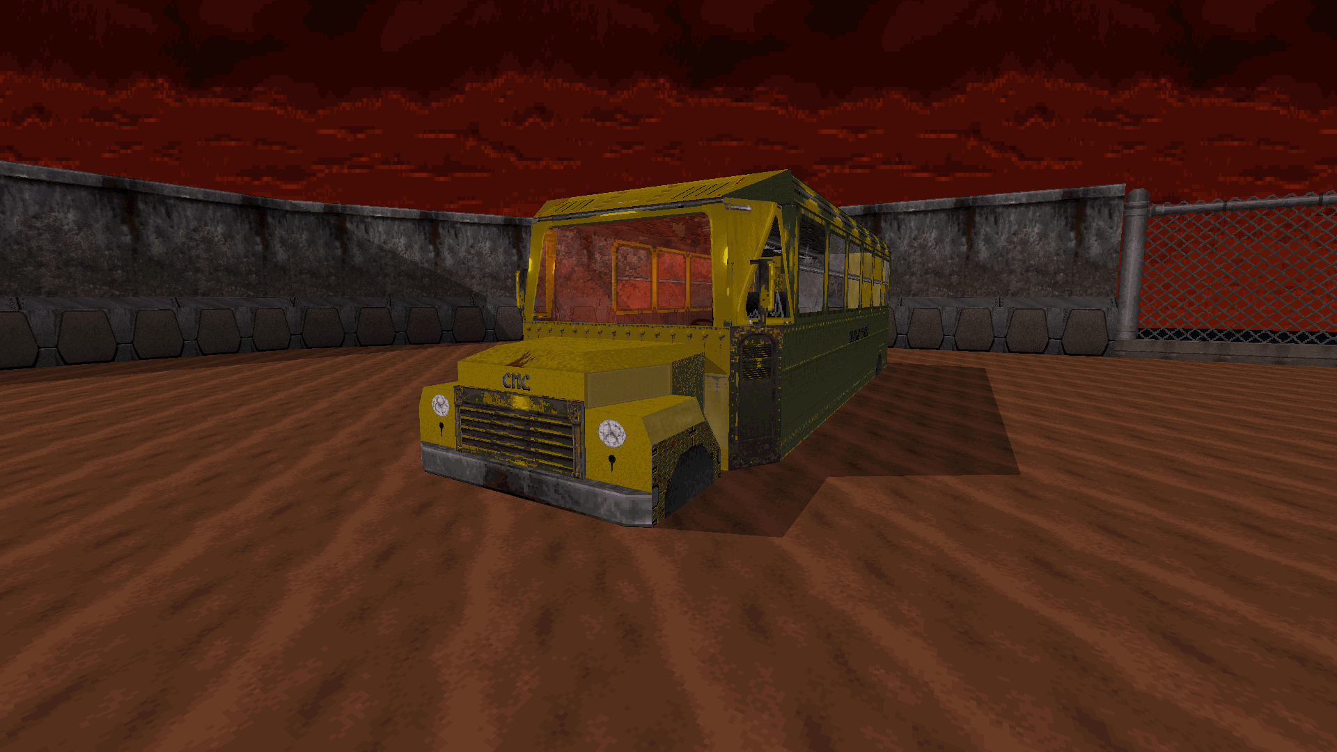 Yellow bus in Piggish Prison
