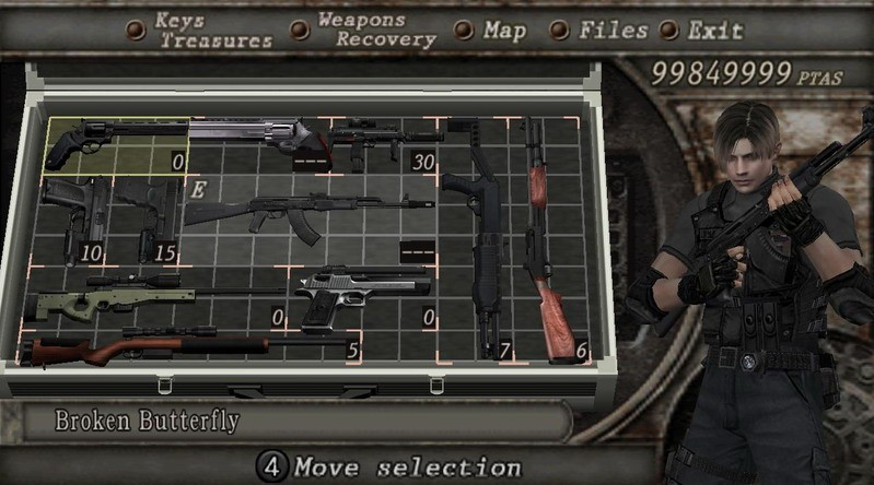resident evil 4 weapons list ps2