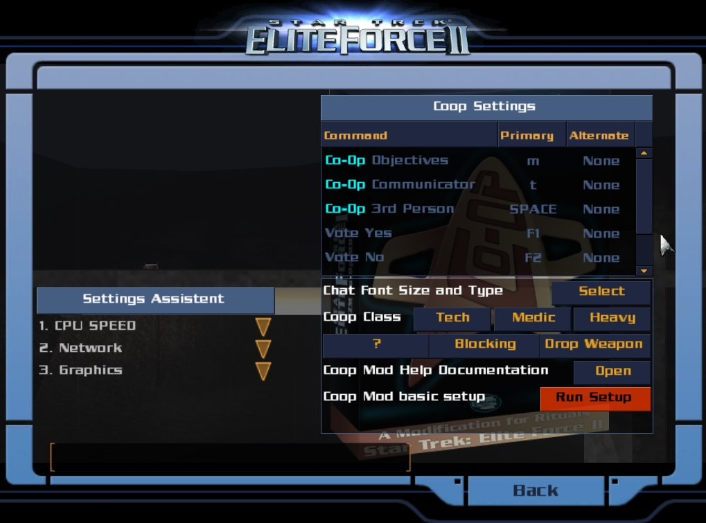 Coop Configuration Menu screenshot