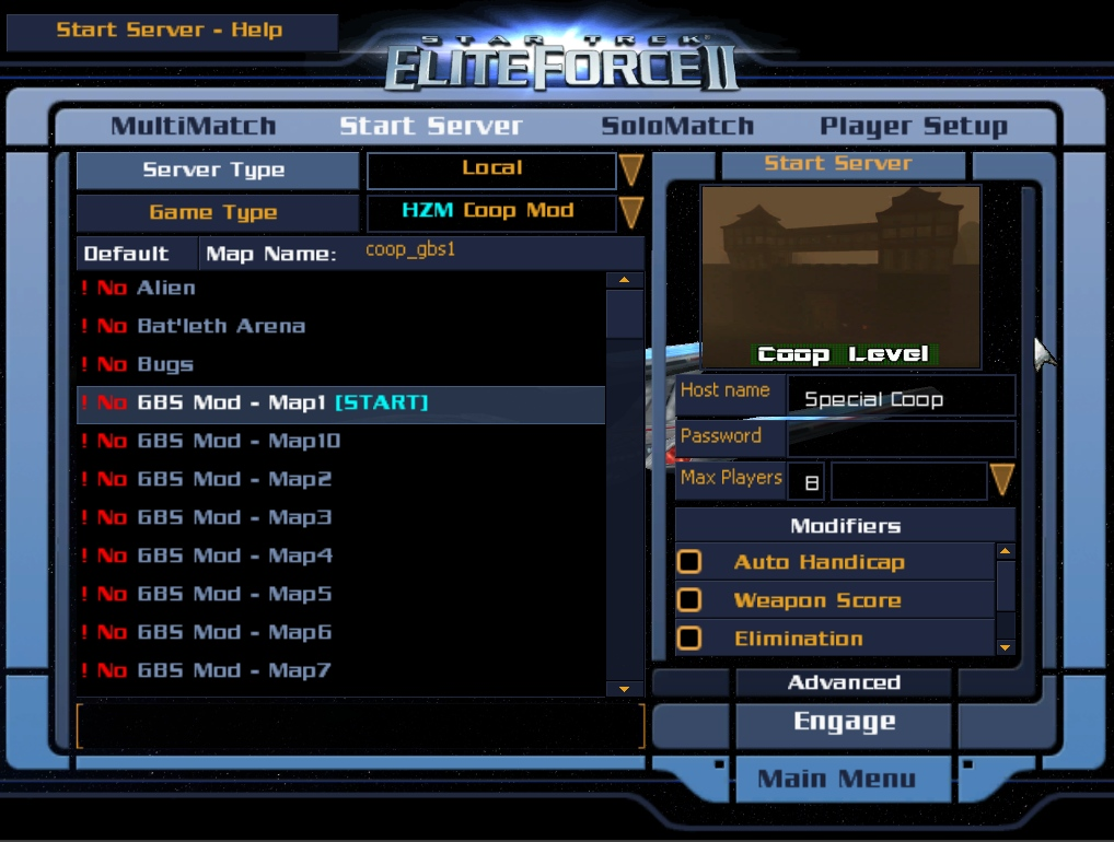 new start server menu overview