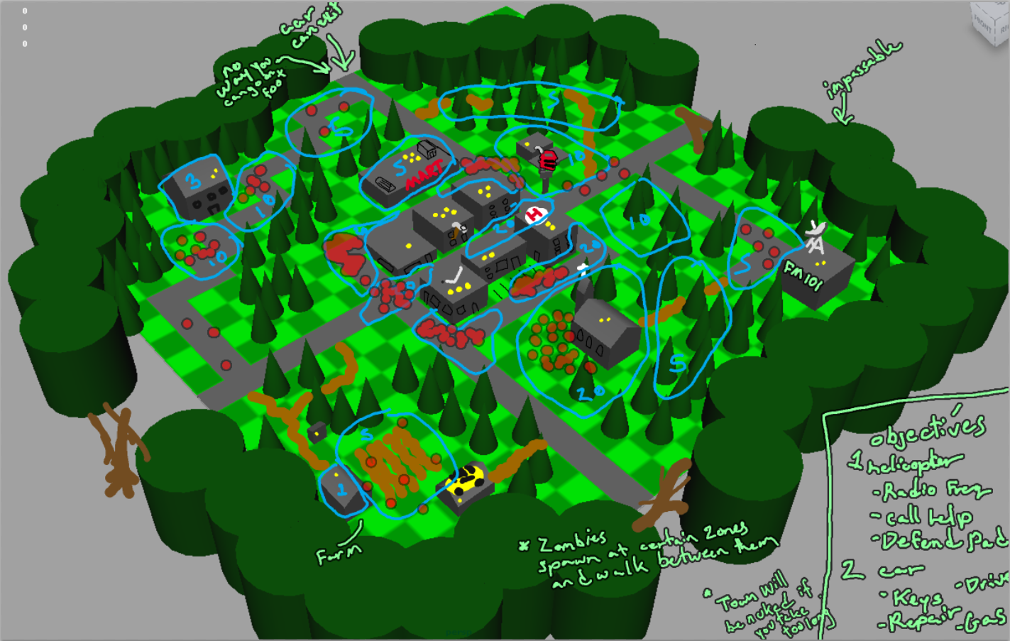 test map layout image  Zombie Apocalypse mod for Unreal