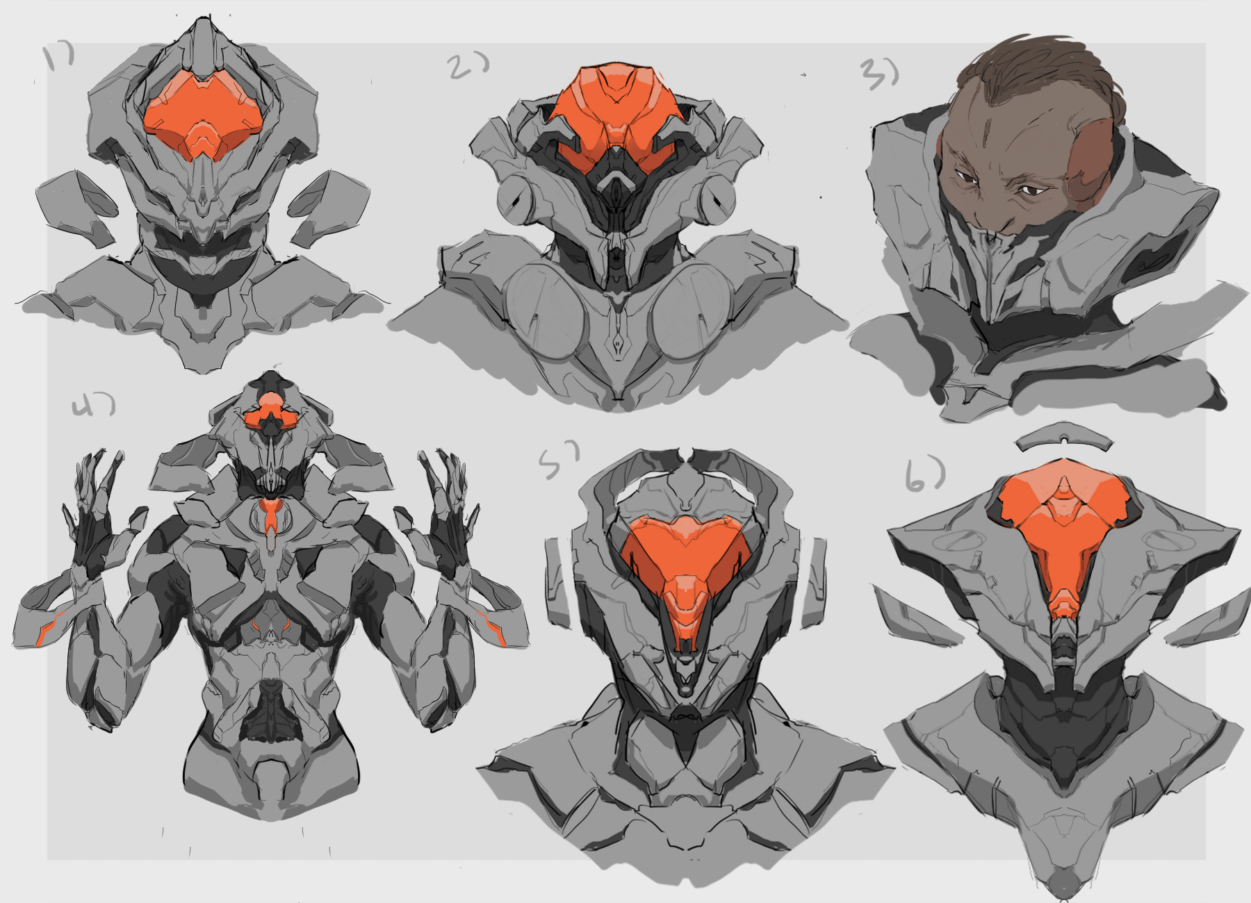 Forerunner concept art of potential portrait characters created by Elizabeth Cope.
