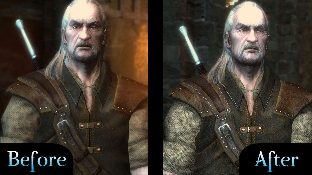 Before & After image - The Witcher: Hi-Res Character Models