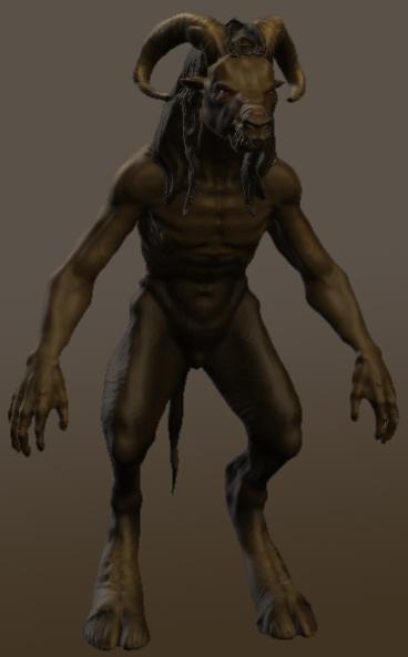 A statue of a Goatman.