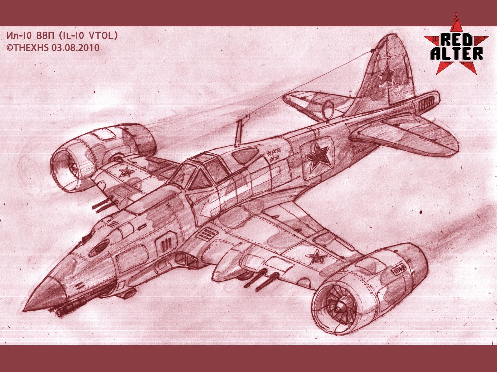 1600 x 1200 · 1905 kB · jpeg, Soviet gunship IL-10 VTOL image - Red