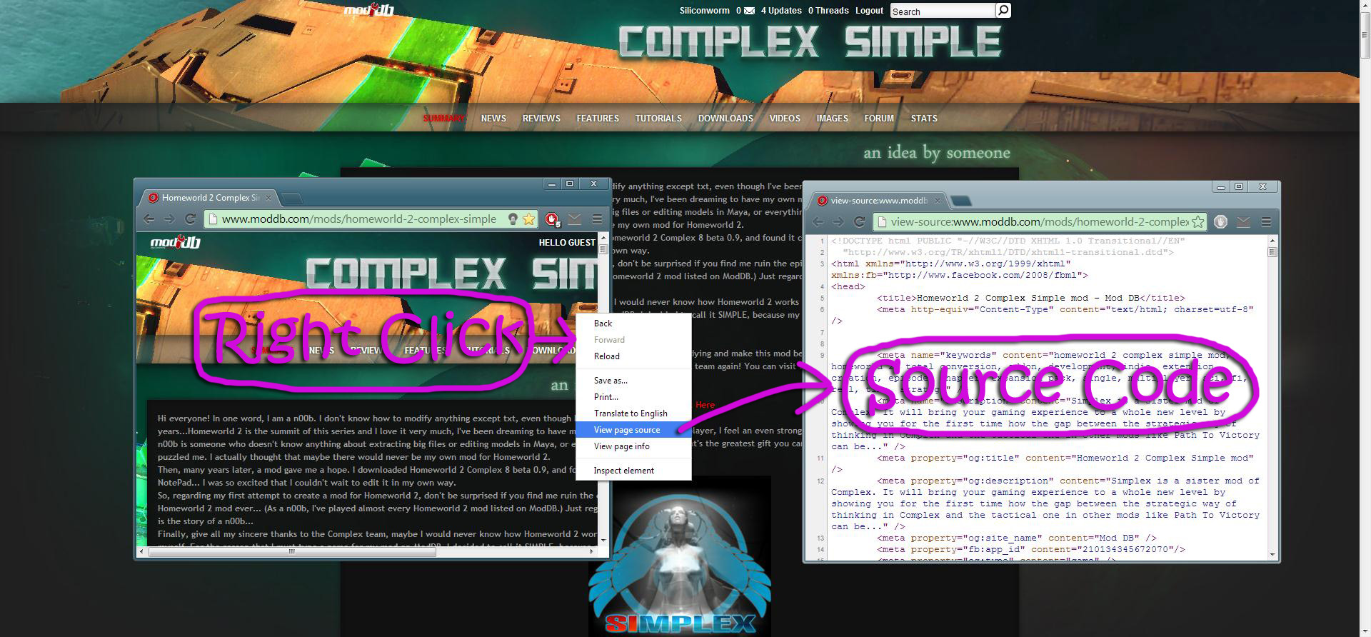 Tutorial Pic: Extracting Page Source Code image - Homeworld