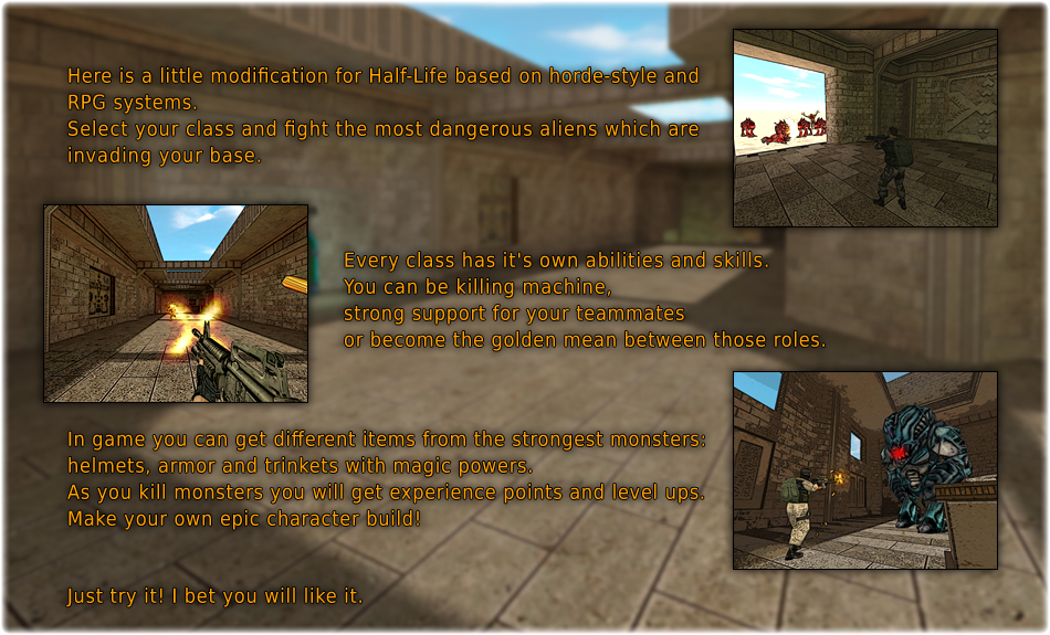 Base Defense is modification for Half-Life, based on idea from Call of Duty: Nazi Zombies.