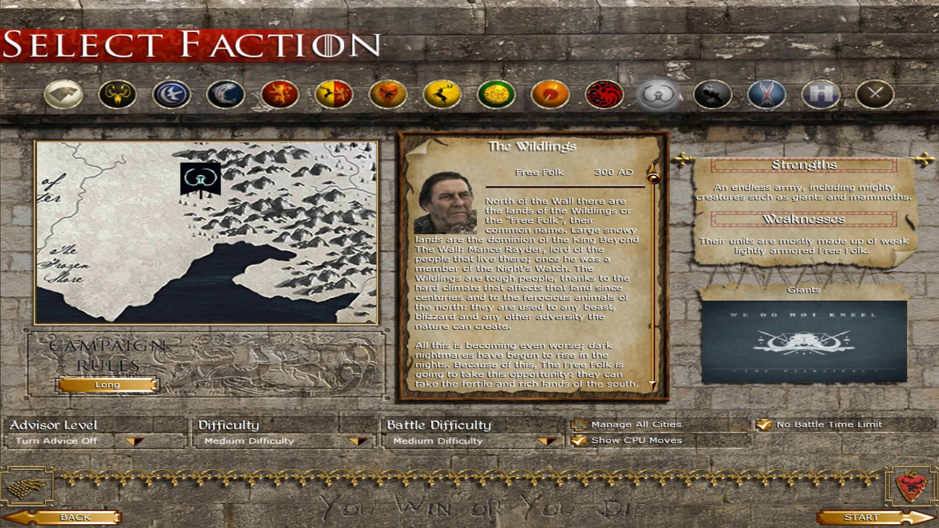 Wildlings/Free Folk Faction selection screen done!