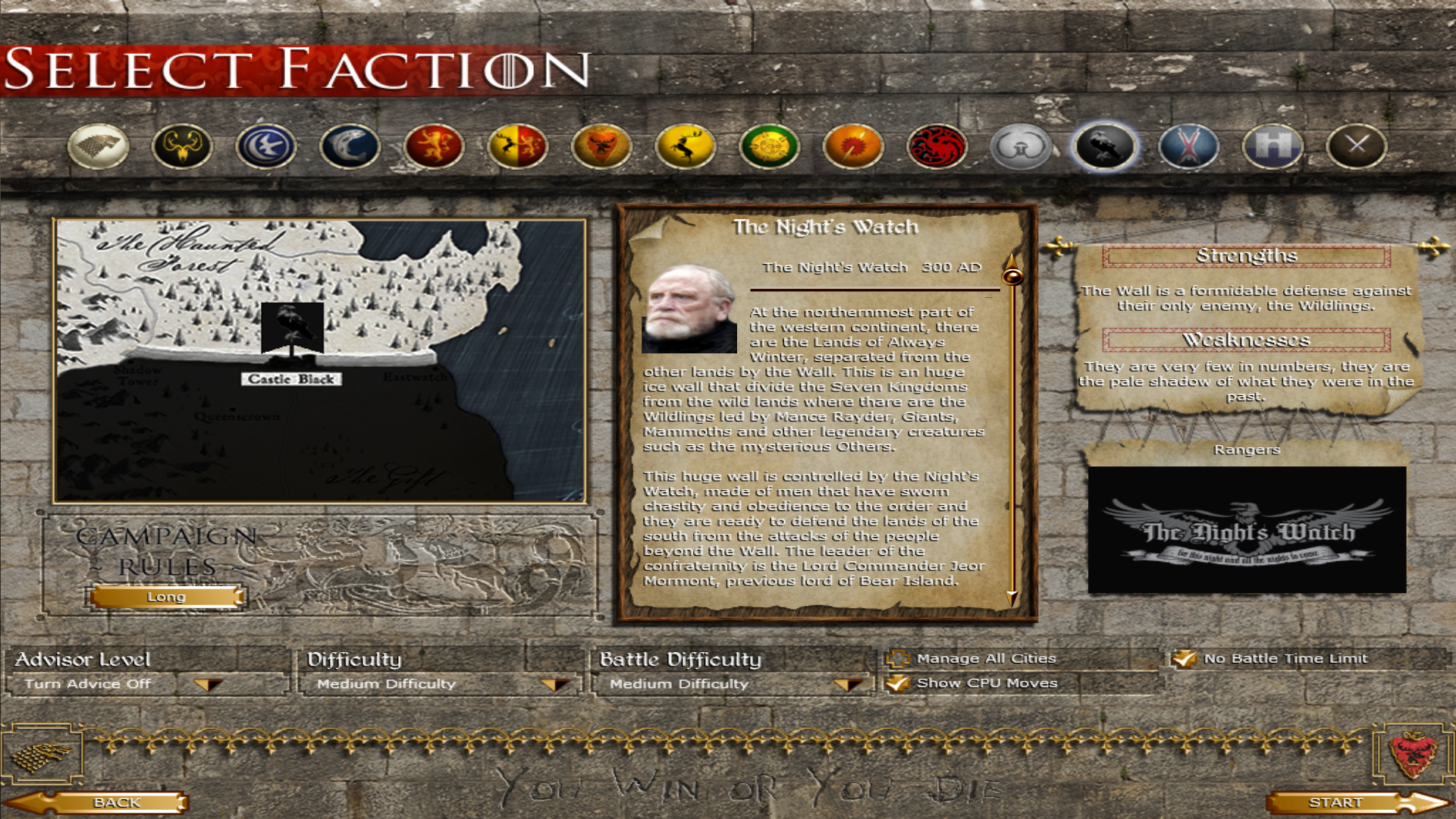 Nights Watch faction Selection screen done!
