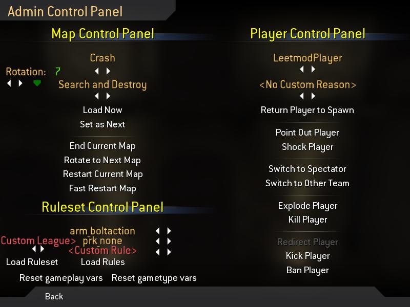 In-Game Menu: Admin Control Panel image - Leetmod for Call