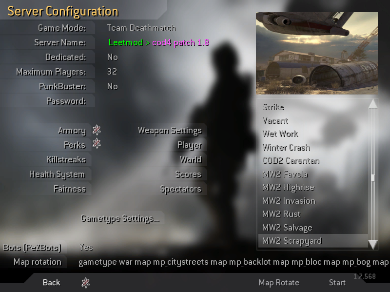 how to create cod4 server