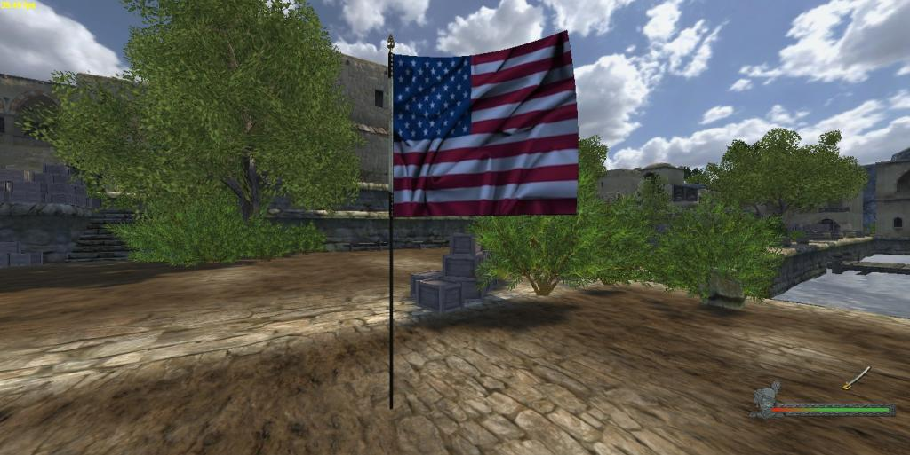 Here is the American flag, each nation will have its own flag, it was a bit tricky for me to do this because I was having a brain fart and had the photo image I used for the flag, a JPeg. :P