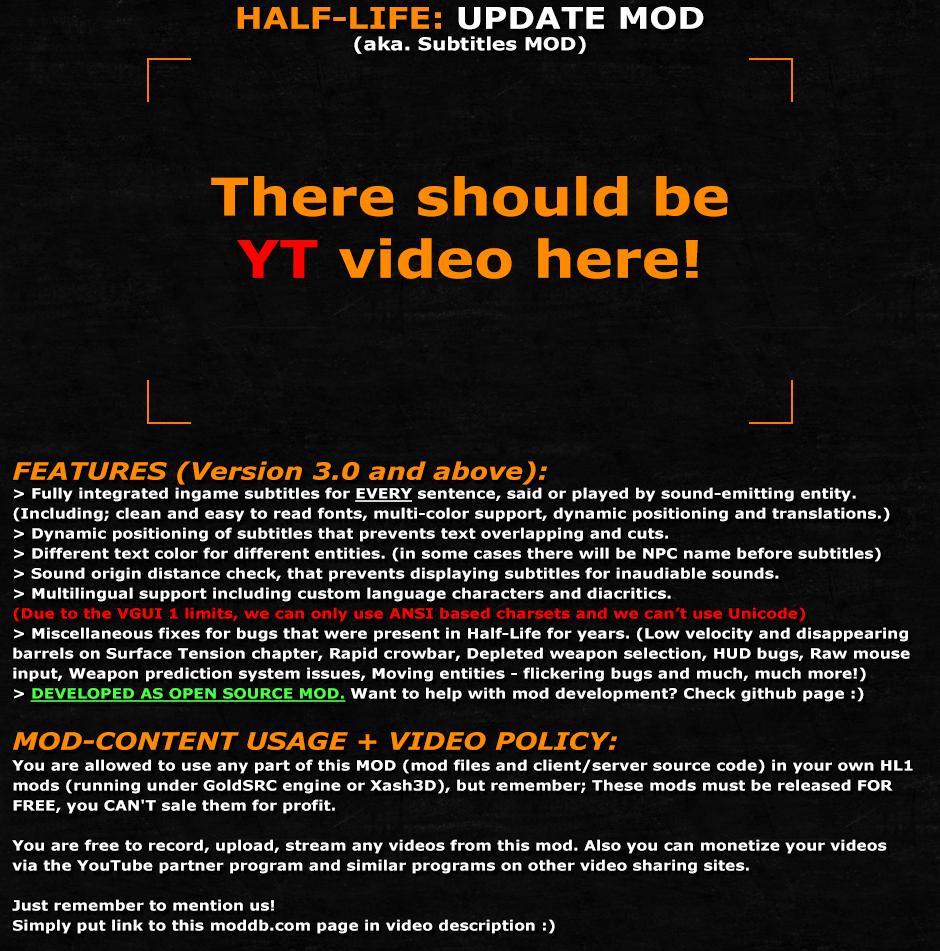 Half-Life: Subtitles MOD