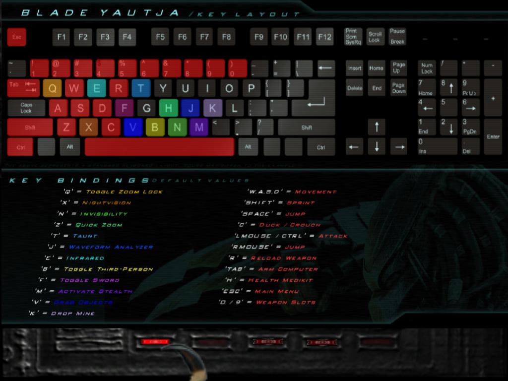 keyboard controls image - blade yautja mod for doom iii