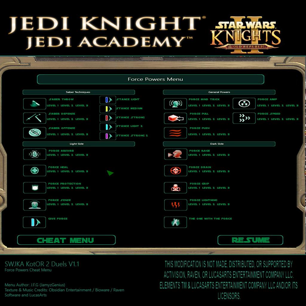 star wars jedi knight jedi academy 2 cheats pc