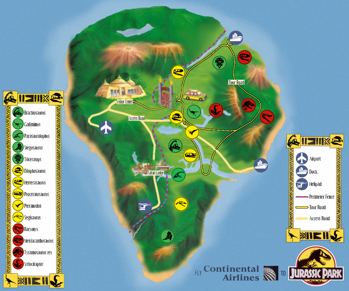 Jurassic Park Map OUTDATED] Isla Nublar Tour Map Remake image   Return to Jurassic  Jurassic Park Map