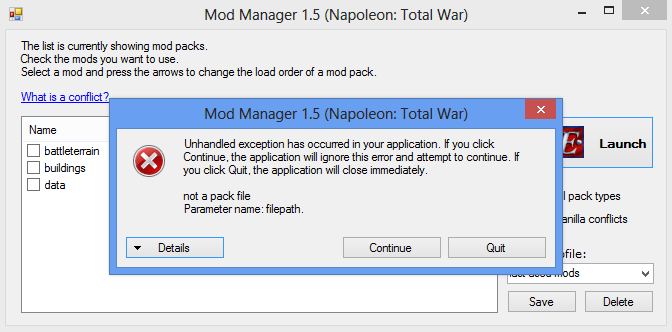 New bug found image - Napoleon Total War Mod Manager Version