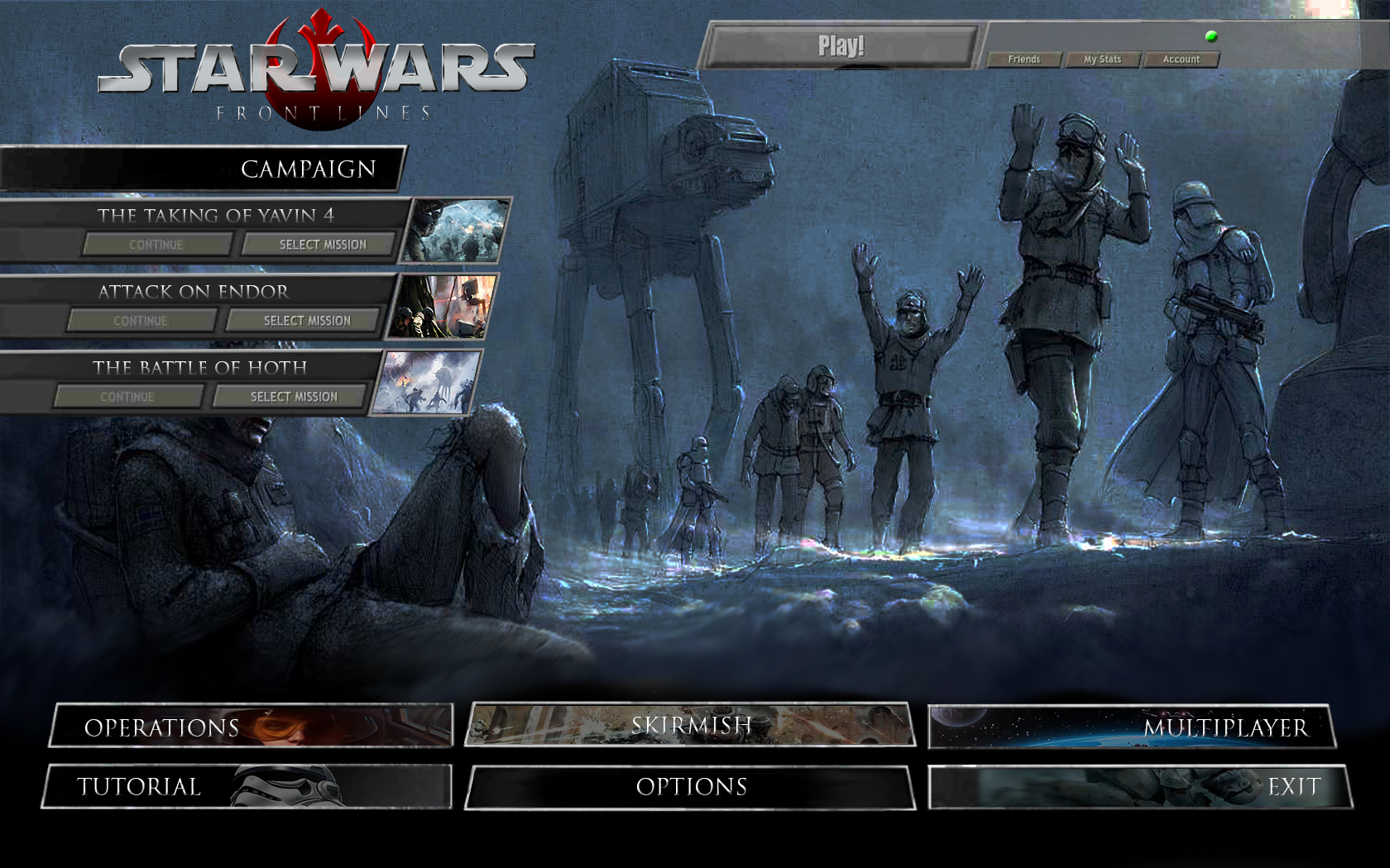 Coh Menu Screen Concept 1 Image Starwars Frontlines The Galactic Civil War Mod For Company Of Heroes Opposing Fronts Mod Db