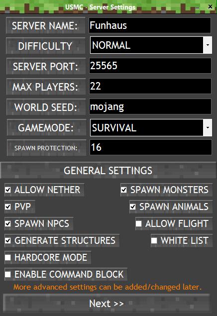 Basic Settings Selection image - Ultimate Minecraft Server