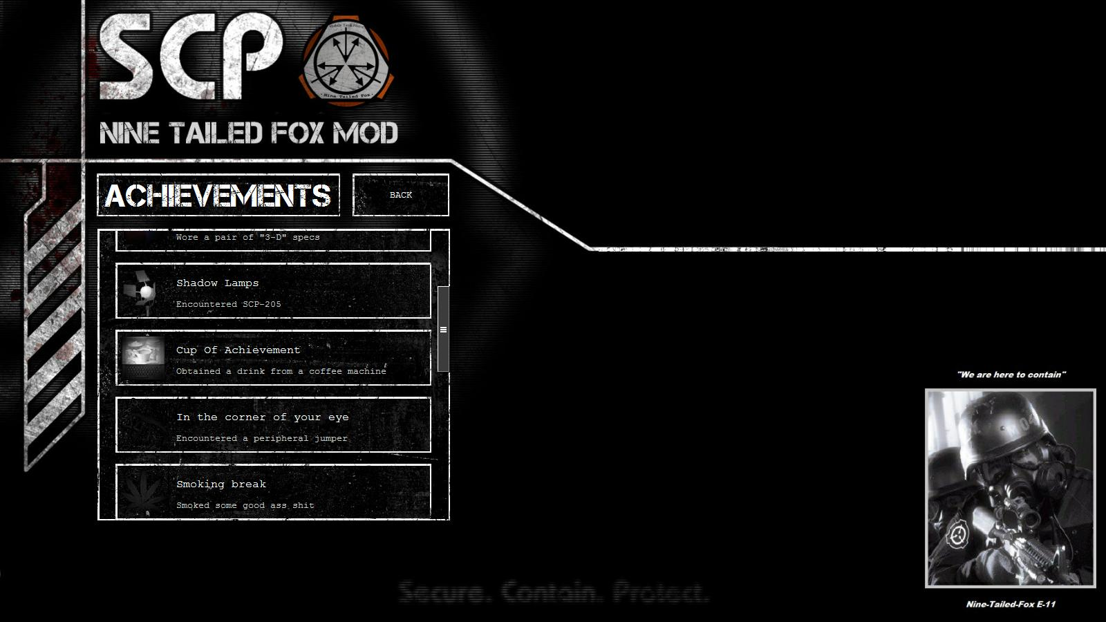 New Achievements Menu Screenshot 1 Image Scp Cb Nine Tailed Fox