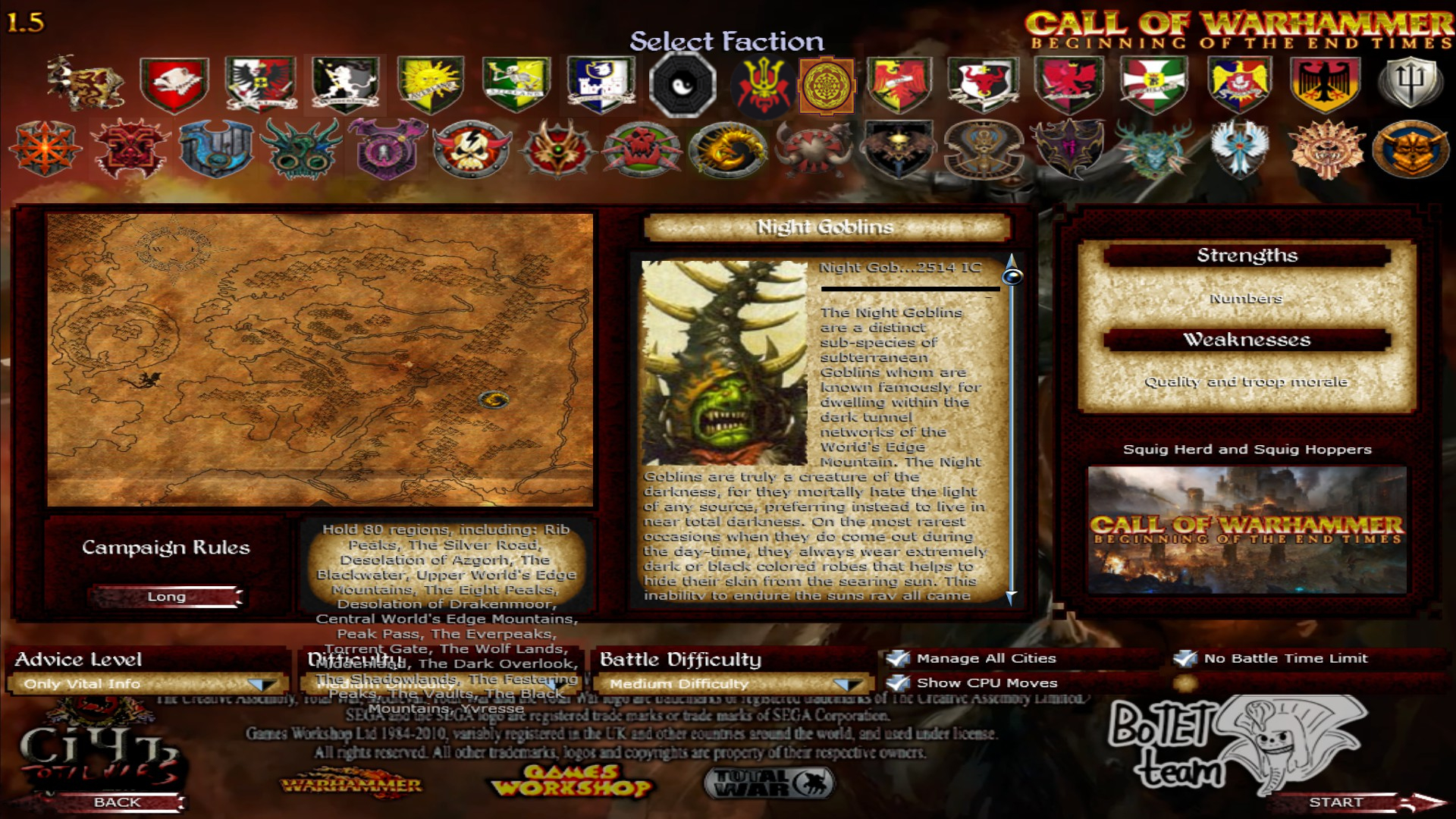 Faction Selection screen image - Call of Warhammer: Beginning of The
