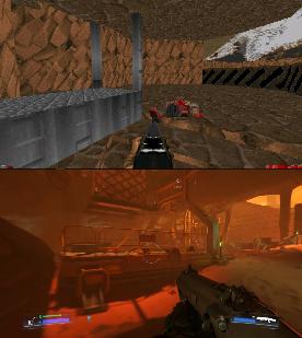 Comparison image - Doom 4 Campaign 4 Doom 2 mod for Doom II