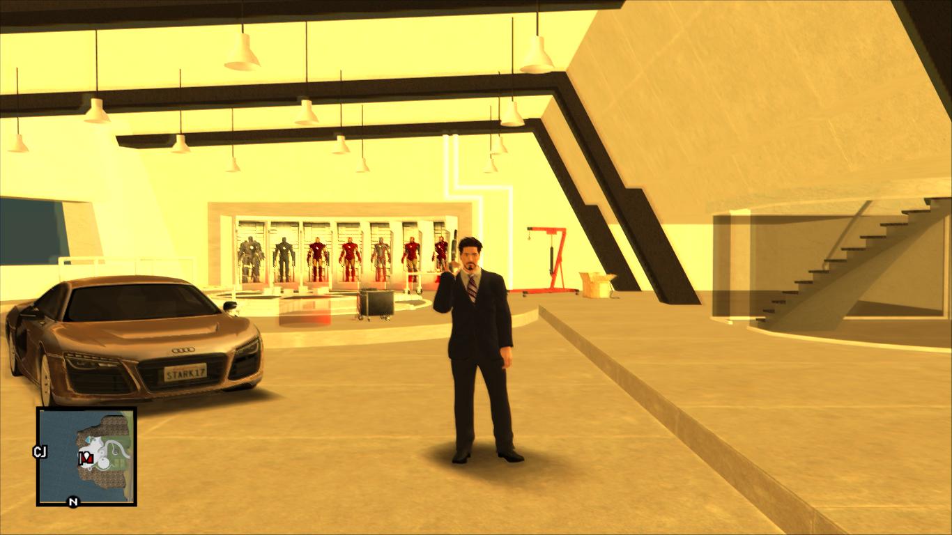 Tony stark garage new version image gta iron man mod for for Garage tony auto