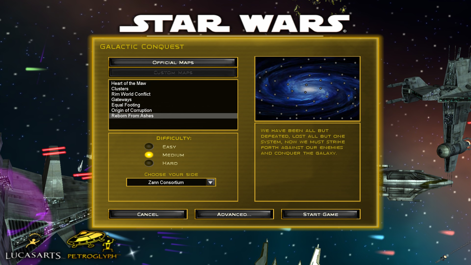 Reborn From Ashes mod for Star Wars: Empire at War: Forces