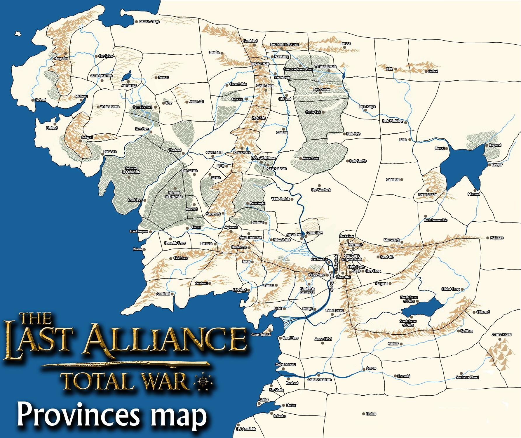 Last Alliance: TW - Provinces map