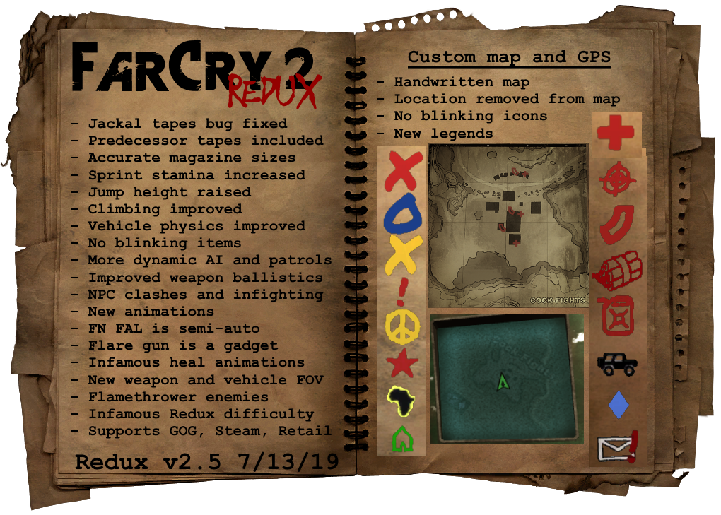 Far Cry 2: Redux mod for Far Cry 2 - Mod DB Infamous Map on crash bandicoot 2 map, forza 4 map, prototype 3 map, grandia 2 map, prototype 2 map, infamous festival of blood mary's teachings, everybody's gone to the rapture map, crash twinsanity map, infamous second son map, uncharted 2 map, grim dawn map, infamous first light map, mortal kombat 2 map, arkham city map, just cause 2 map, bound by flame map, the witcher 3: wild hunt map, batman: arkham knight map, grand theft auto: san andreas map, pac-man world 2 map,
