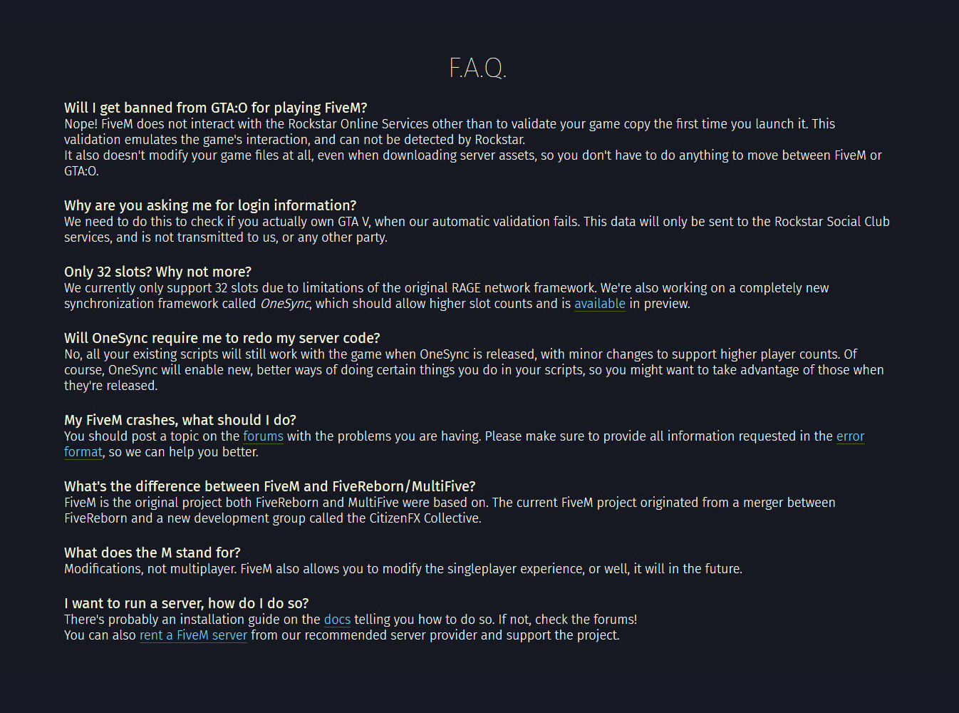 FAQ image - FiveM mod for Grand Theft Auto V - Mod DB