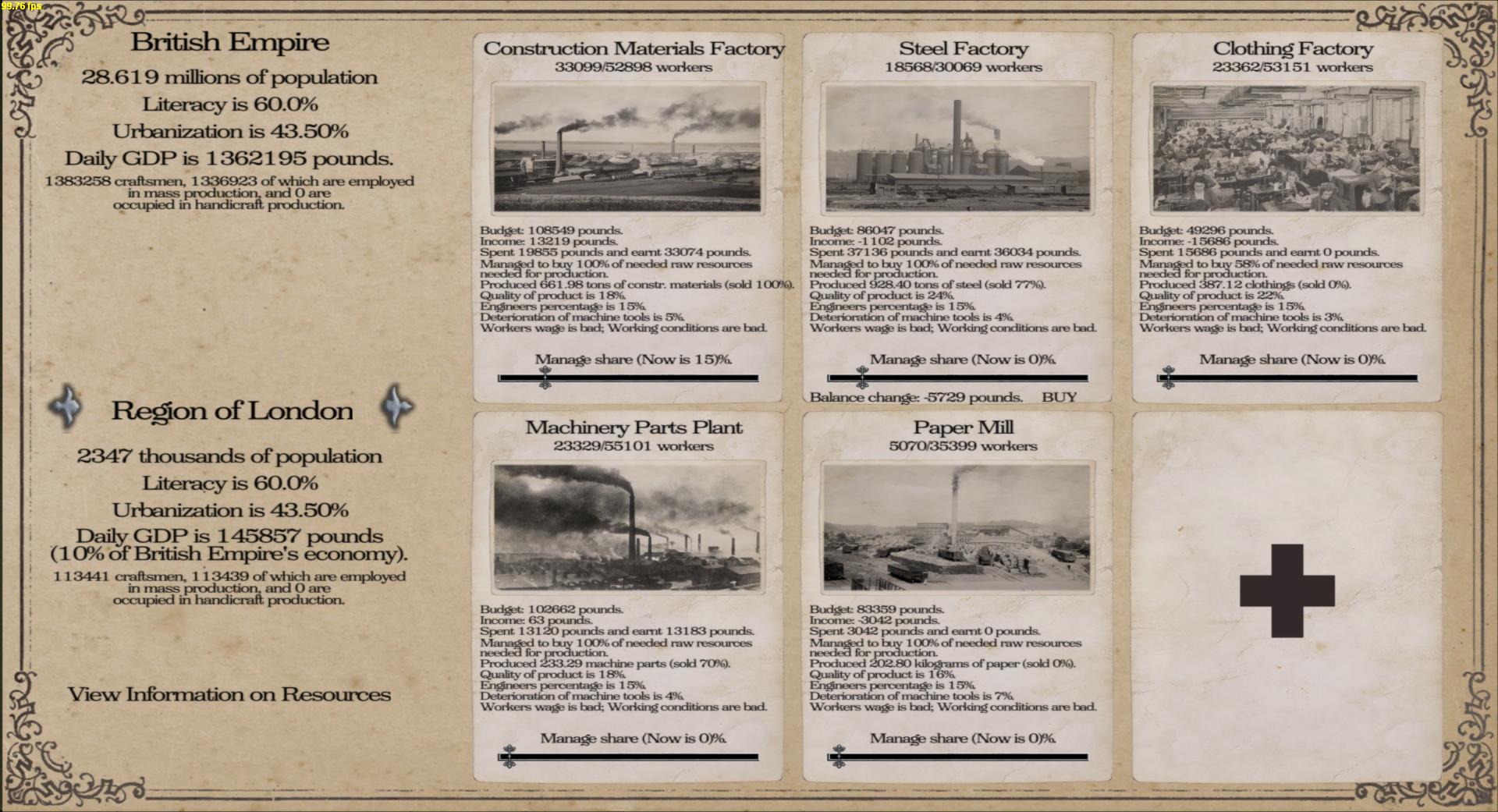 Region industrialisation menu