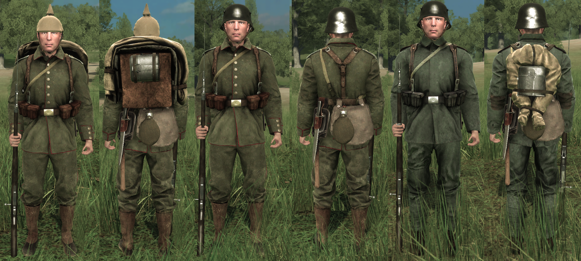German Uniform Progression: 1900's, early 1910's and mid 1910's respectively