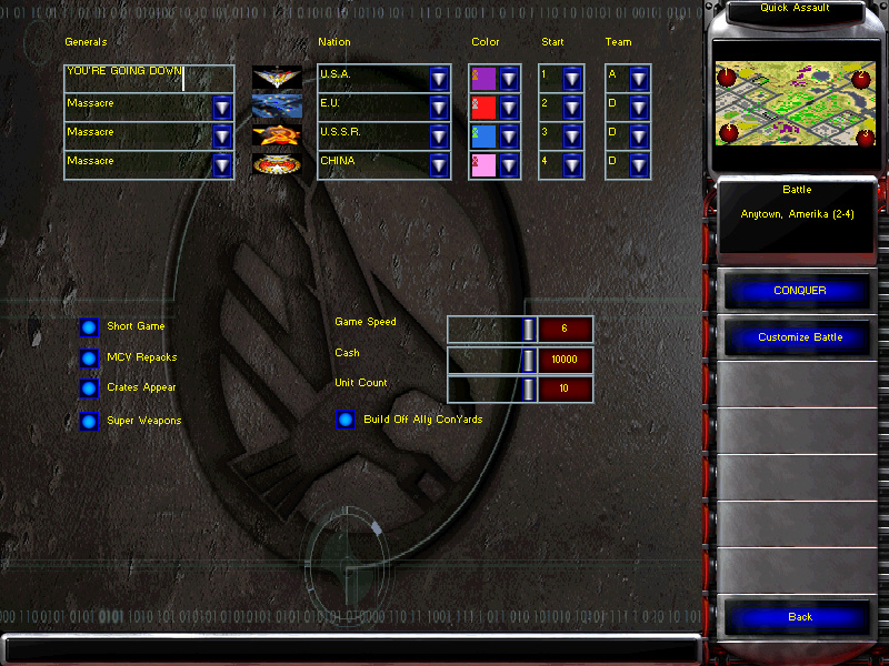 In Game Menu Screen Image Project Alpha Mod For C Amp C