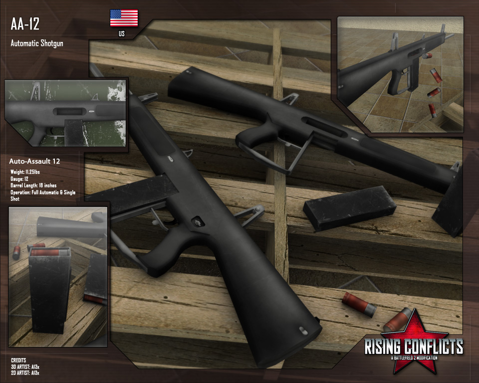 View the Mod DB Rising Conflicts Mod for Battlefield 2 image AA12 Shot Gun.
