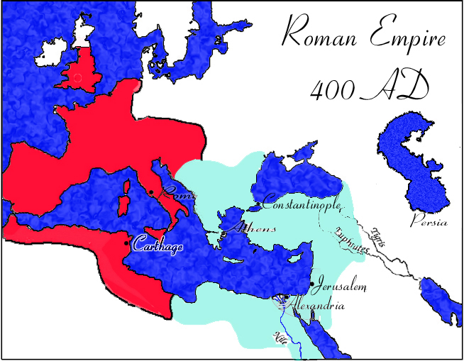 Eastern And Western Roman Empire Map
